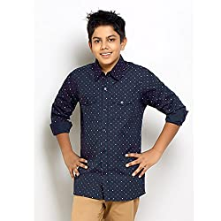 Kick Start Kids Casual Cotton Arrow Printed Navy color Full Sleeves Shirt for Boys