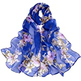 NEEDRA Fashion Women Peach Blossom Printing Long Soft Wrap Scarf Ladies Shawl Scarves