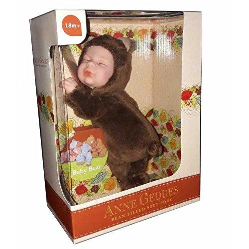 Anne Geddes Baby Chocolate Brown Bear - Bean Filled Soft Body 23cm Doll / Baby-Schokoladen-Braunbär Puppe -
