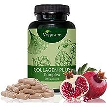 Collagen Plus Complex Vegavero | 90 hochdosierte Kapseln | Rein pflanzliche Extrakte + Aminosäuren | Monatsvorrat | Vegan und OHNE chemische Zusätze