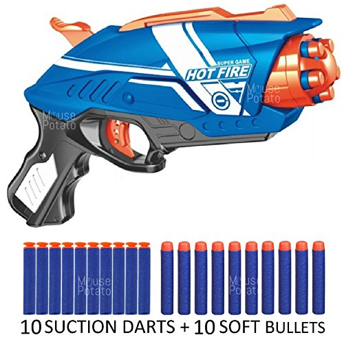 MousePotato Blaze Storm Soft Bullet Gun with 10 Foam Bullets & 10 Suction Dart Bullets