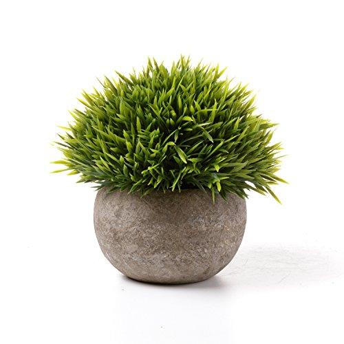 T4U Künstliche Grün Gras Bonsai Kunstpflanze mit grauen Topf, für Hochzeit/Büro/Zuhause Dekoration