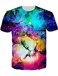 Leapparel Shirt Ultra Décontracté avec Impression Graphique de la Cool Animal and Galaxy Space