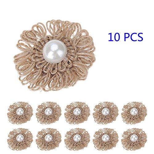 10pcs Jute Blumen mit Perlen diy handgemachte Jute künstliche Blumen Verzierungen dimensional Aufkleber Hochzeit Weihnachtsschmuck dekorative Vintage Hut Zubehör (Sackleinen Schuhe)