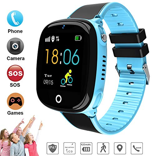 Begabtes Kind 2019 GPS-Telefon Uhr OHNE Abhörfunktion für Kinder Intelligent IP67 Wasserdicht SOS Notruf+Telefonfunktion, Live GPS+LBS Positionierung,Puzzle-Spiel, App + Support auf deutsch (Blue)
