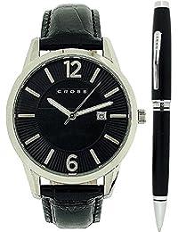 Cross CR1004 - Reloj para hombres, correa de cuero color negro