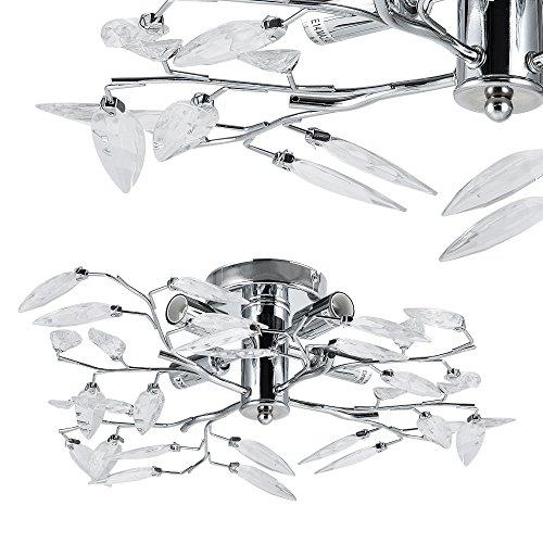 Plafoniera / Lampadario LED con funzione per smorzare di Lux.Pro® - Deign moderno: cristalli in ottica di foglie, 4-fiamme lampada - E14 12 Watt -