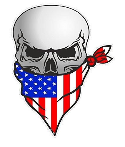 Biker Gotico Pirata Teschio con Faccia BANDANA e Americana Stelle & Strisce bandiera US Motivo Vinile Auto Moto Adesivo Decalcomania 110x85mm by CTD
