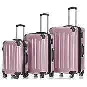 2048 Zwillingsrollen 3 tlg. Reisekofferset Koffer Kofferset Trolley Trolleys Hartschale in 14 Farben
