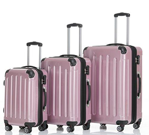 BEIBYE Hartschalen Koffer Trolley Rollkoffer Reisekoffer 4 Zwillingsrollen (Kofferset, Rosa)