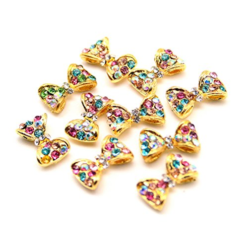 10 pcs Decoration Cristal Nail Art Manucure Forme Papillon 1,2*0,8cm Dore/Multicolore