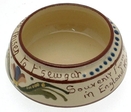 Vintage Watcombe Pottery Motto Ware Sugar Bowl Chymist Shoppe Motto Help Thisen To T'sewgar Knarlesborough - Clt605