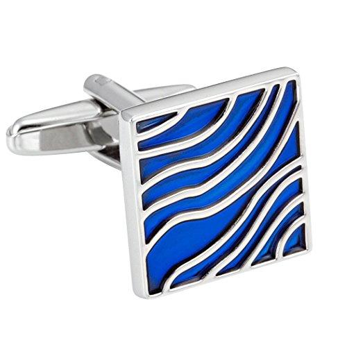 Coole Manschettenknöpfe für Männer Blaue Wellen Emaille Design auf Edelstahl