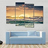HIUIU Prints On Canvas Printed Picture Large 4 Panel Waves Surge View Canvas Framework Painting For Bedroom Living Room Home Wall Art Decor