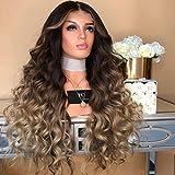 Brun Ombre Blonde Perruque Longue Bouclée Ondulée Pour Les Femmes Costume Cosplay...