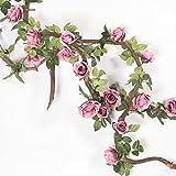 Mi Guoer 3viti in one Pacakge 10Big Rose in una vite di plastica tralci di fiori artificiali, rose rampicanti per decorazione di nozze centrotavola Countyard Purple