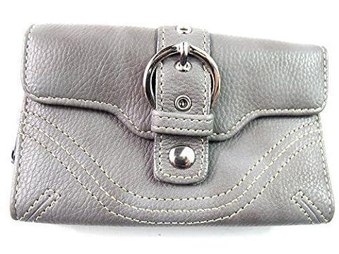 Damen Gürtelschnallen Design Portemonnaie Fashion Portemonnaie Clutch Tasche Münzbeutel Kreditkarteninhaber - grau