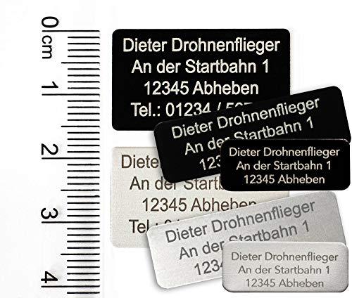 MJ Onlinehandel Drohnen-Kennzeichnung mit 3-5 Zeilen Schrift, Plakette Alu eloxiert - Kennzeichen DREI Größen, selbstklebend