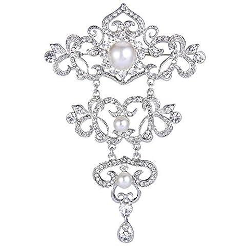 Ever Faith -Plaqué Argent Cristal Crème Perle Artificielle Couche Floral