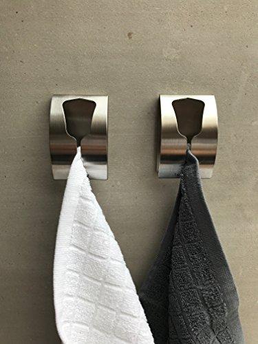 be fancy! 2 Premium Bad Haken aus Edelstahl - Handtuchhalter für Bad, Küche - ohne Bohren Handtuchhaken, Geschirrtuchhalter Lena - 7,5 cm x 5 cm x 2 cm im Set