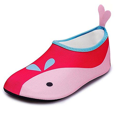 JACKSHIBO Unisex-Kinder Wasserschuhe Jungen Strandschuhe Aqua Schuhe Mädchen Schwimmschuhe Surfschuhe Badeschuhe, Kinder XS(EU 24-25)=140-150MM, Farbe: Rosa