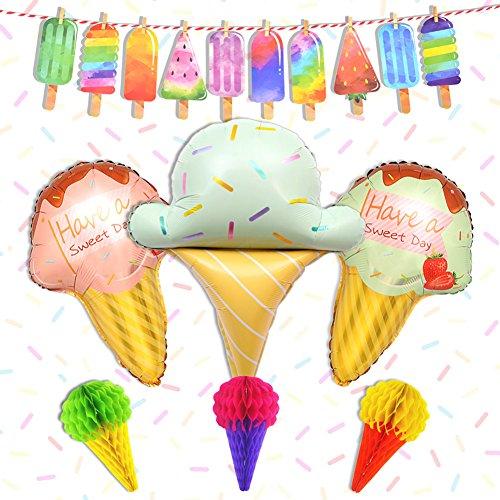 LUCK COLLECTION Eiscreme-Party-Dekorationen, Eisballons, Girlande, Banner zum Aufhängen, Dekoration für Geburtstag und Babyparty -