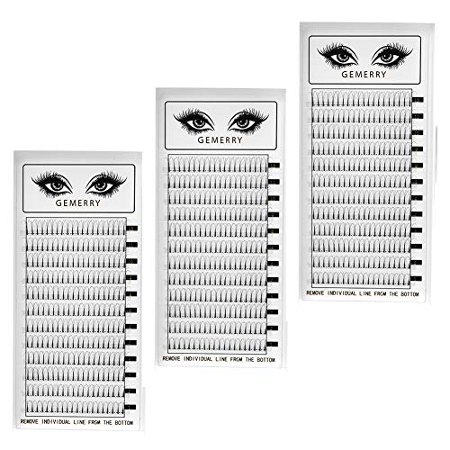 3x 3D Fertige Fächer Büschelwimpern Volumen Wimpern - 0,07mm C curl 8-14mm Mix- Volumentechnik Künstliche Natürliche Wimpern für Wimpernverlängerung von GEMERRY (C curl- mix 8-14mm x3)