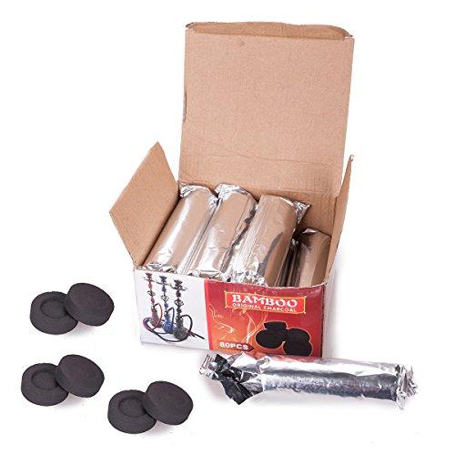 DXP 80 Stück Shisha Kohle Hookah Wasserpfeife Smoking Kohle Holzkohle Schnellzündend 40 mm 8 Rollen JYT01