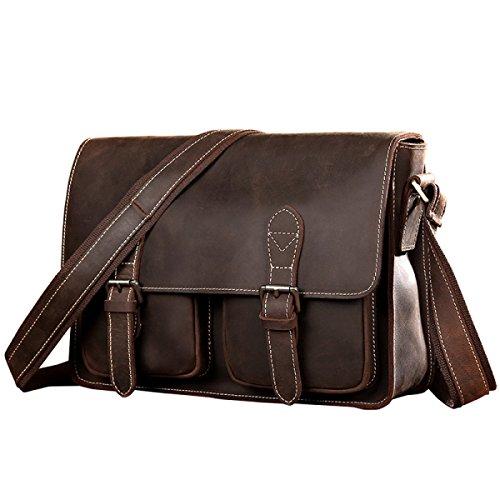 Echtes Leder Männer Retro Schultertasche Handtasche Laptop Messenger Bag Business Office Tasche Griff Reise Cross-Body Taschen Multifunktionale Vintage Tote Bag,CoffeeColor-33 * 9 * 24cm
