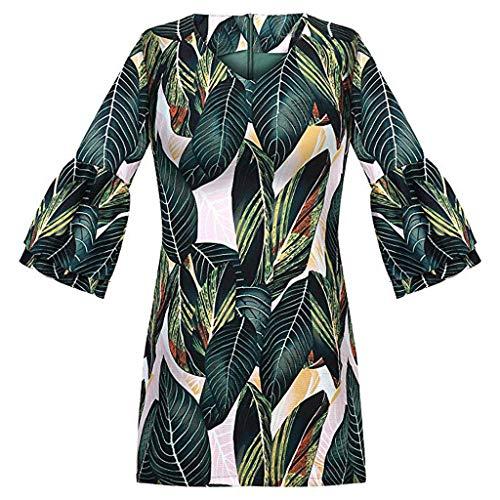 Flared Sleeve Velvet Kleid (VECOLE Damenoberteile Sommer Mode Frauen V-Ausschnitt Half Horn Sleeve Druck Lässig V-Ausschnitt Mini Party Strandkleid(Grün,S))