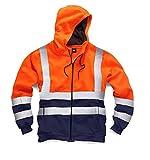 Arbeitsjacke/Kapuzenpulli für Herren, hohe Sichtbarkeit, mit Reißverschluss, EN471 Gr. XXL, Orange/Navy