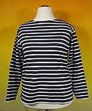 Bretonisches Damen Fischerhemd Langarm Streifen Hemd schwarz