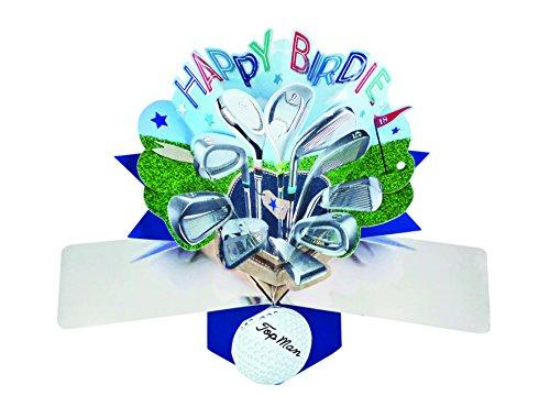 Suki Gifts POP135 Pop Up Grusskarte Happy Birdie Golf/Geburtstag, mehrfarbig