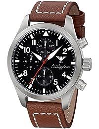Airleader Steel Chronograph KHS.AIRSC.LB5 Edelstahl, Büffel-Lederband braun, KHS Tactical Watch, Einsatzuhr, Fliegeruhr