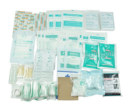 160 Piece First Aid Kit Bag Refill Kit - Includes 2 x Eyewash,2 x Instant Cold Pack, Bandage, 6 x Cleaning Towelette for Travel, Home, Office, Car, Camping, Boat, Workplace 1