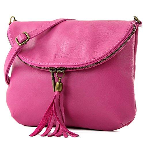 modamoda de - ital. Ledertasche Clutch Umhängetasche Unterarmtasche Klein Nappaleder T07, Präzise Farbe:Pink