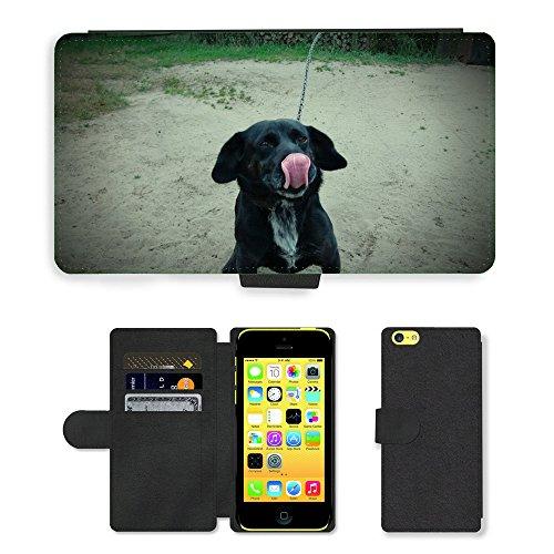 Just Mobile pour Hot Style Téléphone portable étui portefeuille en cuir PU avec fente pour carte//m00139668pour chien Animaux Museau Doggy Fourrure//Apple iPhone 5C