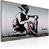 Banksy graffiti street art 100x70cm toile sur civi re for Tableau grande taille design