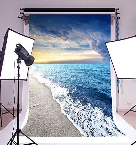 GzHQ Vinyl 5x7FT Fotografie Hintergrund Meer Wasser Dunkle Wolken Meer Wellen Sand Strand Landschaft Thema Kulissen 1,5 (B) x 2,2 (H) m Aufnahme für Video Foto Studio Requisiten