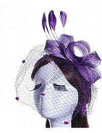 Sombrero - señoras tocado de otoño e invierno novia sombrero tiara  horquilla elegante pluma malla grande lino sombrero flor accesorios para el  cabello ... 2385824ba71