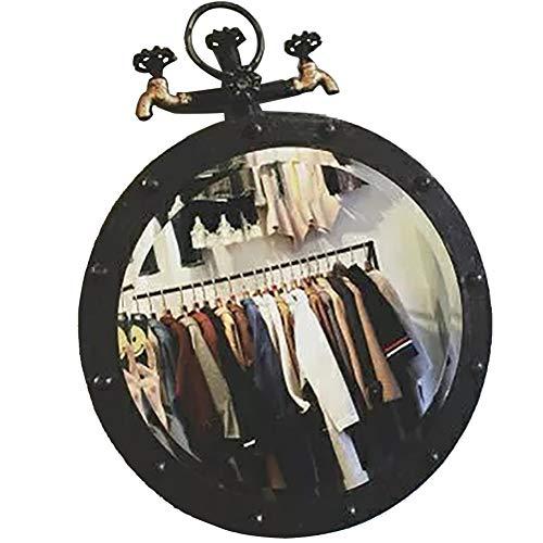 DH JINGZI - Schminkspiegel Spiegel-industrielles Stil Retro-Wasserhahn kreative Badezimmer Wohnzimmer Runde dekorative Metall Schmiedeeisen (Farbe : SCHWARZ, größe : 50cm Diameter)