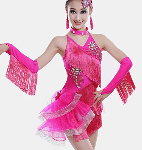 Kostüm Dance Freestyle - Kinder Latin Dance Kleidung Mädchen Diamant gefüttert Quaste Latin Dance Kleid Kinder Latin Spiele Kleidung Freestyle Dance Kostüm Rose rot/grün/lila, 160cm, Rose red