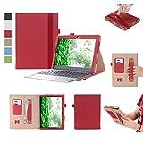 ISIN Tablet Fall Serie Premium PU-Leder Schutzhülle für Lenovo Ideapad MIIX 320 10,1 Zoll Windows 10 Convertible 2 in 1 Tablet PC mit Handschlaufe und Kartenschlitz (Rot)