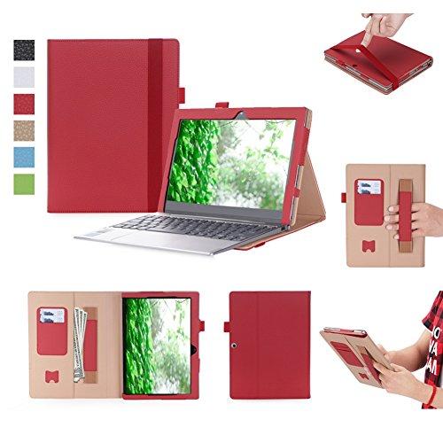 Solid Polyurethan (ISIN Tablet Fall Serie Premium PU-Leder Schutzhülle für Lenovo Ideapad MIIX 320 10,1 Zoll Windows 10 Convertible 2 in 1 Tablet PC mit Handschlaufe und Kartenschlitz (Rot))