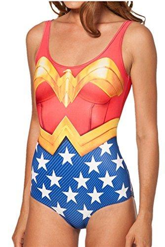 Women one Piece Swimsuit Beach Wear WONDER WOMAN CAPE SUIT Swimwear by Skyteam4u