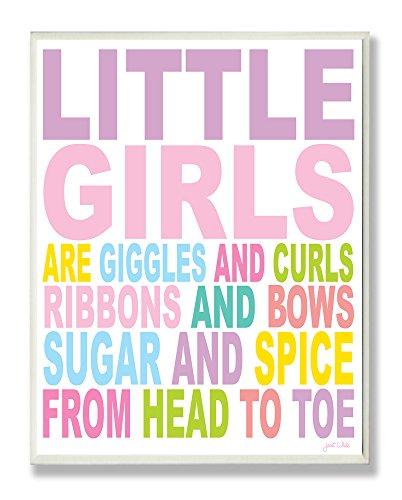 La chambre d'enfant par Stupell petites filles sont des Rires et des boucles Typographie rectangle plaque murale