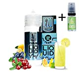 E Liquide EZO Blue Crush Lemonade 100ml – 70 vg 30 pg – booster shortfill - Sans nicotine + Liquide The Boat 10ml Citron et citron vert - Sans nicotine et sans tabac.