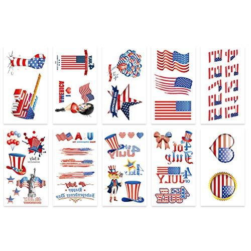 oo Temporäre Unabhängigkeitstag 4. Juli Tattoo Aufkleber Körper Aufkleber Tätowierung Sticker für Kinder Erwachsene 20 Stücke ()