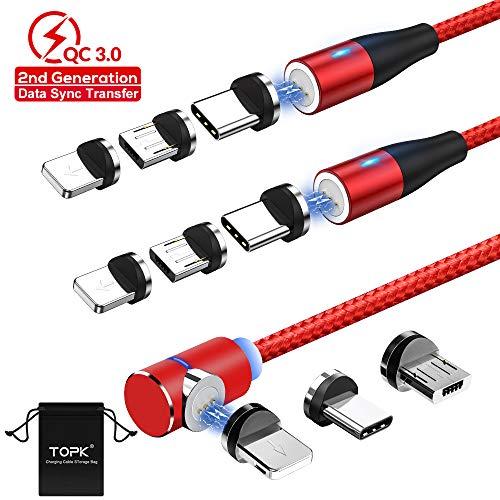 Magnétique Câble USB Chargeur TOPK Gen2 Nylon tressé 3 en 1 Multi Magentic Chargement Rapide et Transfert de Données Câble Aimanté avec Micro USB Type C IP Adaptateur(1m/2m/2m)