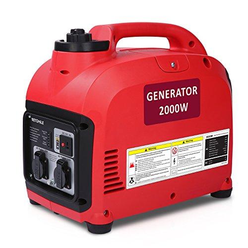 VETOMILE - Benzin Stromerzeuger, Generator, Inventer mit DE Steckdosen (2000W, AC 230V, 4 Stunden Betriebszeit, 4L Kraftstofftank, Super Leise, für Camping, Wohnmobil, Notfall)